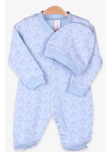 Breeze Erkek Bebek Patikli Tulum Şapkalı Set Bebe Mavisi (0-3 Ay-4 Ay) Mavi